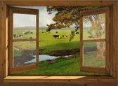 Tuindoek doorkijk door openslaand venster naar koeien in landschap - 130x95 cm - tuinposter - tuin decoratie - tuinposters buiten - tuinschilderij