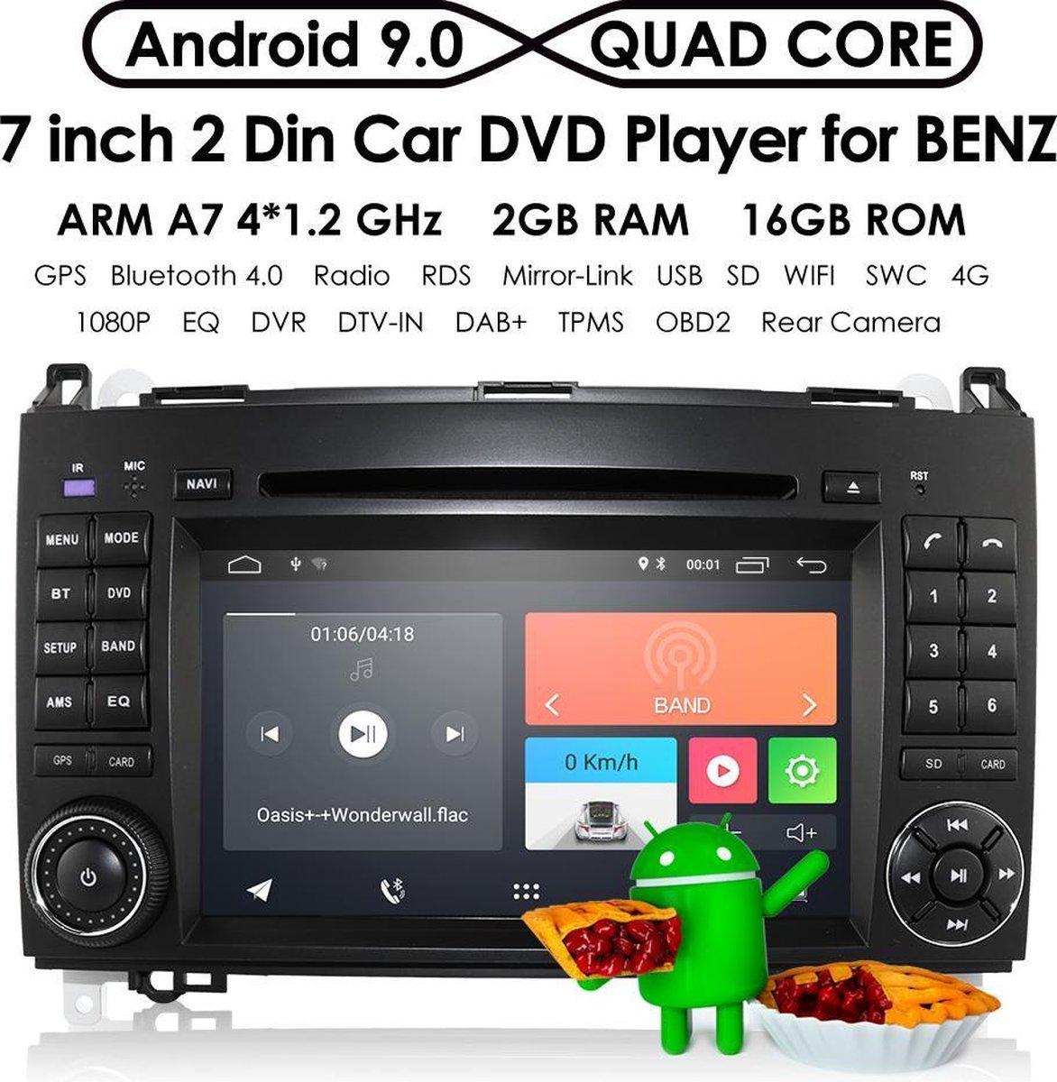 Mercedes Benz A B V Sprinter Vito Viano Klasse W169 W245 W639 W906 2004 t/m 2014 Navigatiesysteem | Volkswagen Crafter | CAN-BUS met Bluetooth Autoradio Aux en USB - Dubbel din - Android 10 – Met AchteruitrijCamera & USB - 4 core 2GB RAM 16GB ROM