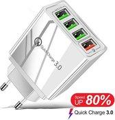 USB Lader 4 in 1 met 1 snel laad poort - USB Snellader - USB Stekker - USB Oplader – Zwart