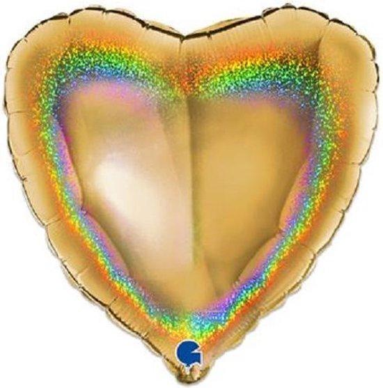 Folieballon hart glitter goud (46cm)
