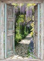 Tuindoek doorkijk openslaande houten deuren naar Laan met blauwe regen - 95x130 cm  - tuinposter - tuin decoratie - tuinposters buiten - tuinschilderij