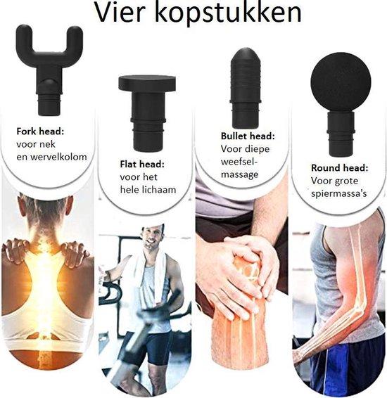 HMerch™ Massage Gun Pro - Inclusief 4 kopstukken - Met 6 verschillende standen - Massagepistool - Pistool voor massages - Zwart