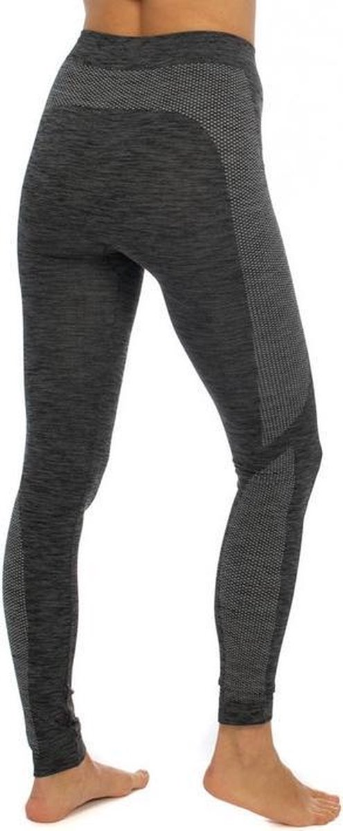 Thermo broek ondergoed lang voor dames zwart melange - Wintersport kleding - Thermokleding - Lange thermo broek M (38)