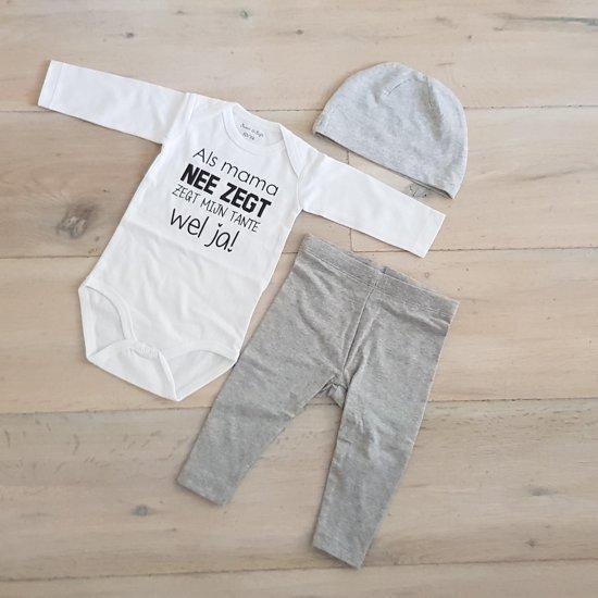 Baby cadeau geboorte unisex jongen of meisje Setje 3-delig newborn | maat 50-56 | grijs mutsje en broekje en romper lange mouw wit met zwarte tekst als mama nee zegt zegt mijn tante wel ja | pakje | Kraamcadeau