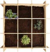 Houten vierkante meter tuin 9-vaks 100 cm - Minigarden - Moestuin aanleggen - Groente/kruiden planten in houten bak