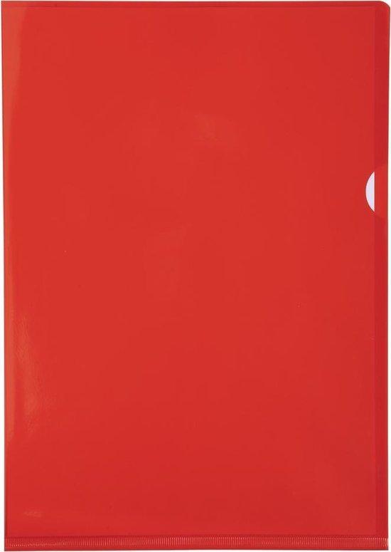 Pak van 100 L mappen - gladde PVC 13/100e - A4, Rood