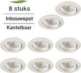8 Stuks Lybardo Inbouwspot LED - Inbouw armatuur Costa - Kantelbaar - Rond - Wit