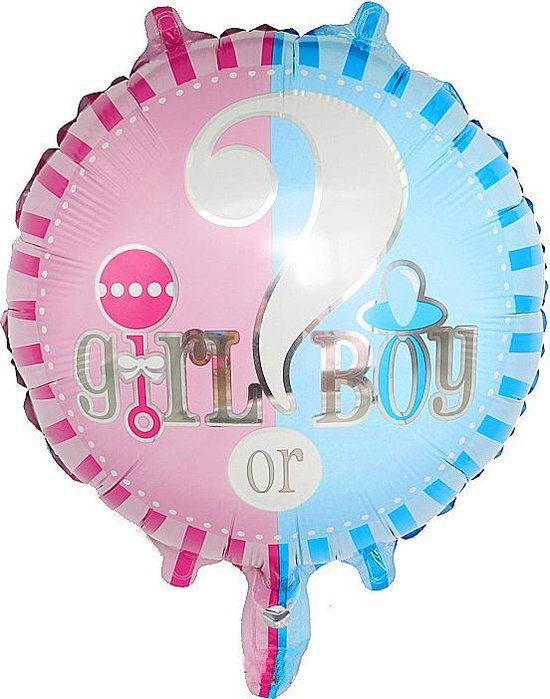 4x Girl or Boy ballon 45 cm voor Gender Reveal party of babyshower