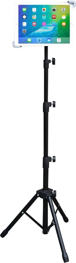 Tablet Houder tripod voor Ipad en Samsung Tab - Verstelbaar Statief - Lessenaar/Muziek Standaard - Zwart