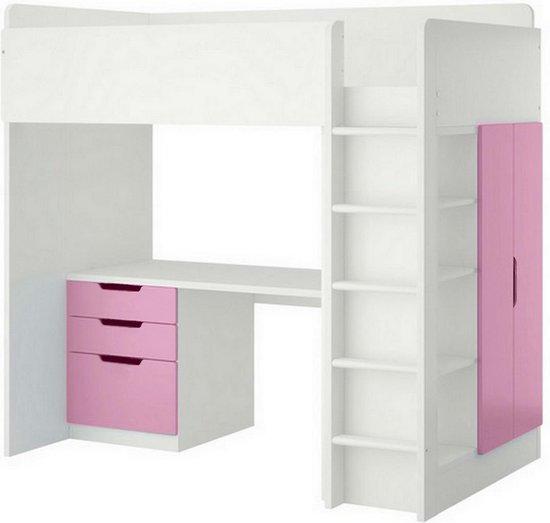 Polini Kids Hoogslaper met Bureau en Kast roze
