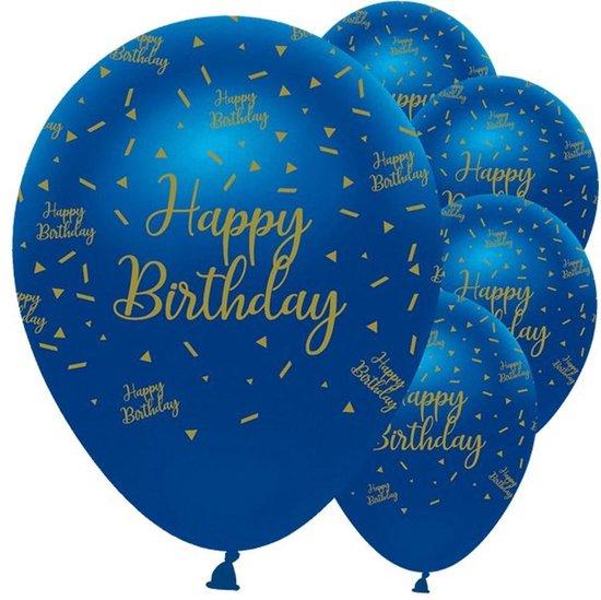 Ballonnen 'Happy Birthday' Navy gold - 6 stuks