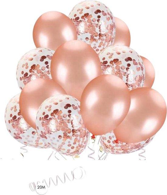 GBG 20 stuks Rose Goud Ballonnen met Lint – Decoratie – Feestversiering - Papieren Confetti – Rose Gold - Roze Gold Latex - Verjaardag - Bruiloft - Feest