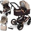 Sens Design Kinderwagen 3 in 1 - met luiertas - Bruin/Goud