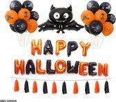 GBG Halloween Set Bat - Halloween Decoratie – Feestversiering - Papieren Confetti – Oranje - Zwart - Wit - Feest