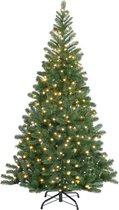 Kerstboom met LED lichtketting warmwit -kunstkerstboom met verlichting- kerst- kerstversiering- kunstboom- kerstsfeer - Groen