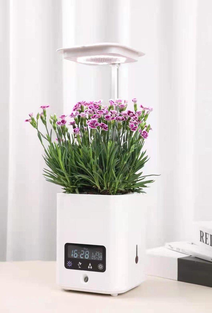 KATRIZ® Multifunctionele Smart Bloempot | Bloempot Binnen| Luchtbevochtiger | Luchtzuiverend | Plant Lichtbron | Bluetooth Speaker | Wit | 1 stuk