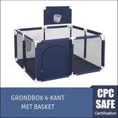 Speelbox Baby Blauw Vierkant - Kinderbox - Playpen - Grondbox - Kruipbox - Kinderen - Peuter - Kleuter - Camping - Kamperen