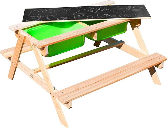 MaxxGarden kinder picknicktafel - Zandbak met waterbak en picknicktafel - 90 x 79 x 50cm - Bruin