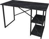 Pochon Home - Bureau met 2 Vakken - Zwart/Marmer - 60x120 cm - Tafel - Computerbureau - Laptoptafel - Bureautafel voor Volwassenen