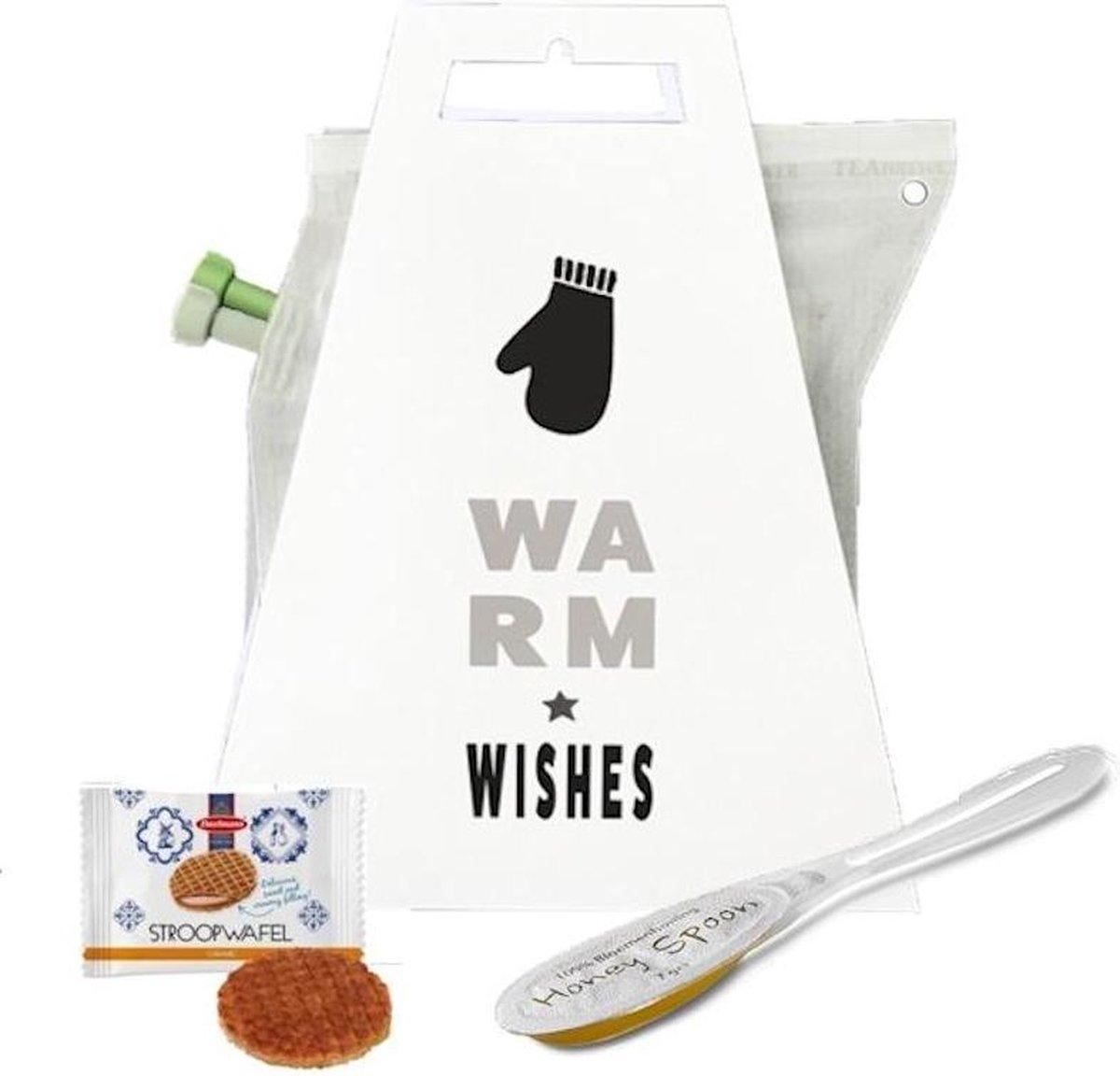 Cadeau verse thee met filter in zak + koekje + honing - kerst warm wishes   Cadeautje door de brievenbus