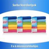 15 stuks Sorbo microvezeldoek gekleurd 40 x 40 cm - Vaatdoeken microvezel - Microvezeldoekjes (3 x 6 )