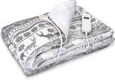 Navaris XXL warmtedeken voor 2 personen - Elektrische deken met 3 standen en timer - Bovendeken - 180 x 130 cm - Fluweelzacht - Wasbaar