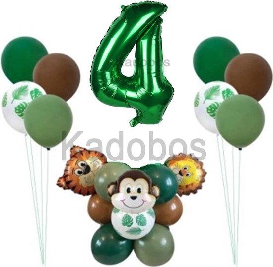 Safari ballonnen set verjaardag 4 jaar - folie ballon jungle Leeuw Aap Tijger - 26 delig