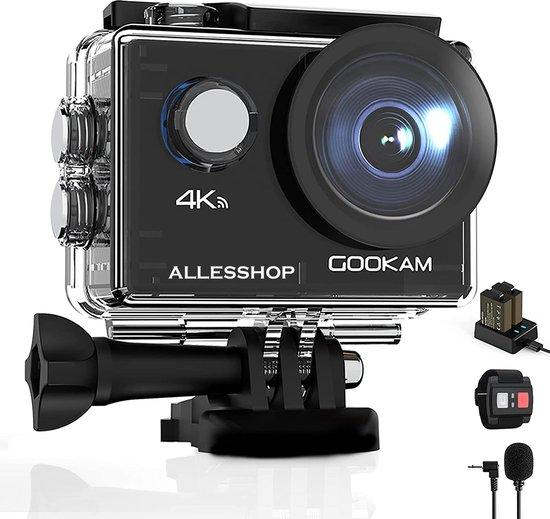 Gookam®️ - GO2 Action Camera 4K met Microfoon - 40 Meter Waterproof - 20 MP - Met veel Accessoires - Zwart
