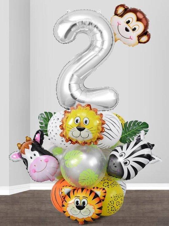 25 stuks ballonen incl. tape set - 25 ballonen - 2 jaar - verjaardag - kinderfeestje - feestje - ballonen - dieren - aap - leeuw - zebra - koe - natuur - decoratie