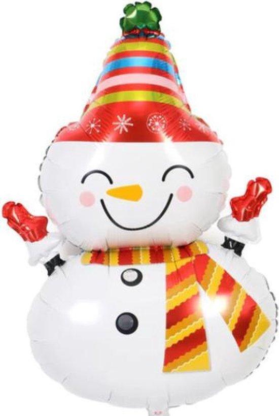 Sneeuwpop Ballon - XL - 90x53 - Kerst - Folie Ballon - Sneeuw - Kerst - Winter - Versiering - Ballonnen - Kerstversiering - Thema Feest - Helium ballon - Leeg- Kerst Decoratie
