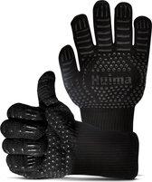 Huima Hittebestendige BBQ & Oven Handschoenen - Extra Lang Voor Armbescherming - Barbeque Accesoires - tot 800°C - Siliconen Patroon voor Extra Grip - Koken - Zwart - 2 Stuks