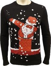 Foute Kersttrui Heren / Mannen - Christmas Sweater - Kerstman Dab Zwart - Kerst Sweater Maat S
