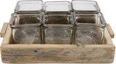 Krat hout met 6 accuglaasjes 27x19x10cm