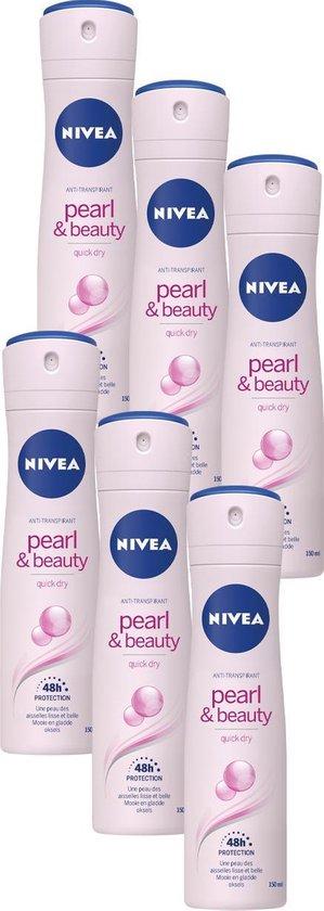 NIVEA Pearl & Beauty Deodorant Spray - 6 x 150 ml - Voordeelverpakking