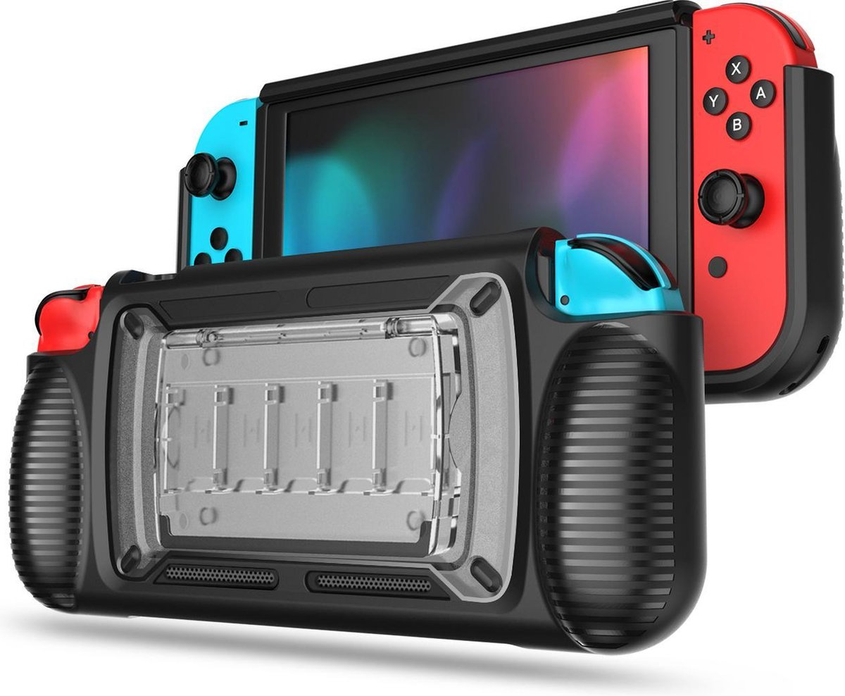 YONO Nintendo Switch Case   Hoes   TPU Beschermhoes Cover met Ergonomisch Handgrip   Zwart