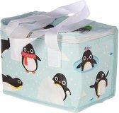 Kleine koeltas pinguin print blauw 20,5 cm 4 liter - Koelboxen/koeltassen - Lunchtrommel/lunchtas