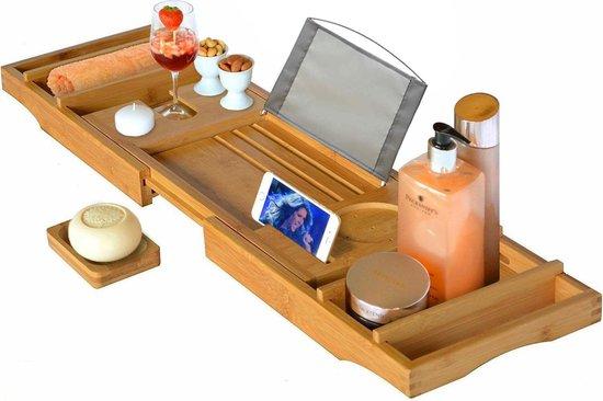 Bol Com Luxerliving Badplank Badplank Bamboe Hout Tray Badkamer Houder Tablet Ipad