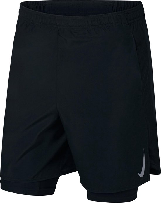Nike M Nk Chllgr Short 7In 2In1 Sportbroek Heren - Black/Black/(Reflective Silv)