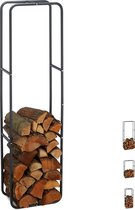 relaxdays Brandhout rek - haardhout opslag - haardhout rek - binnen - buiten - metaal 150 x 40 x 25 cm