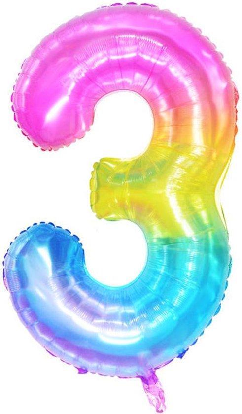 DW4Trading® Cijfer ballon 3 regenboog 100cm