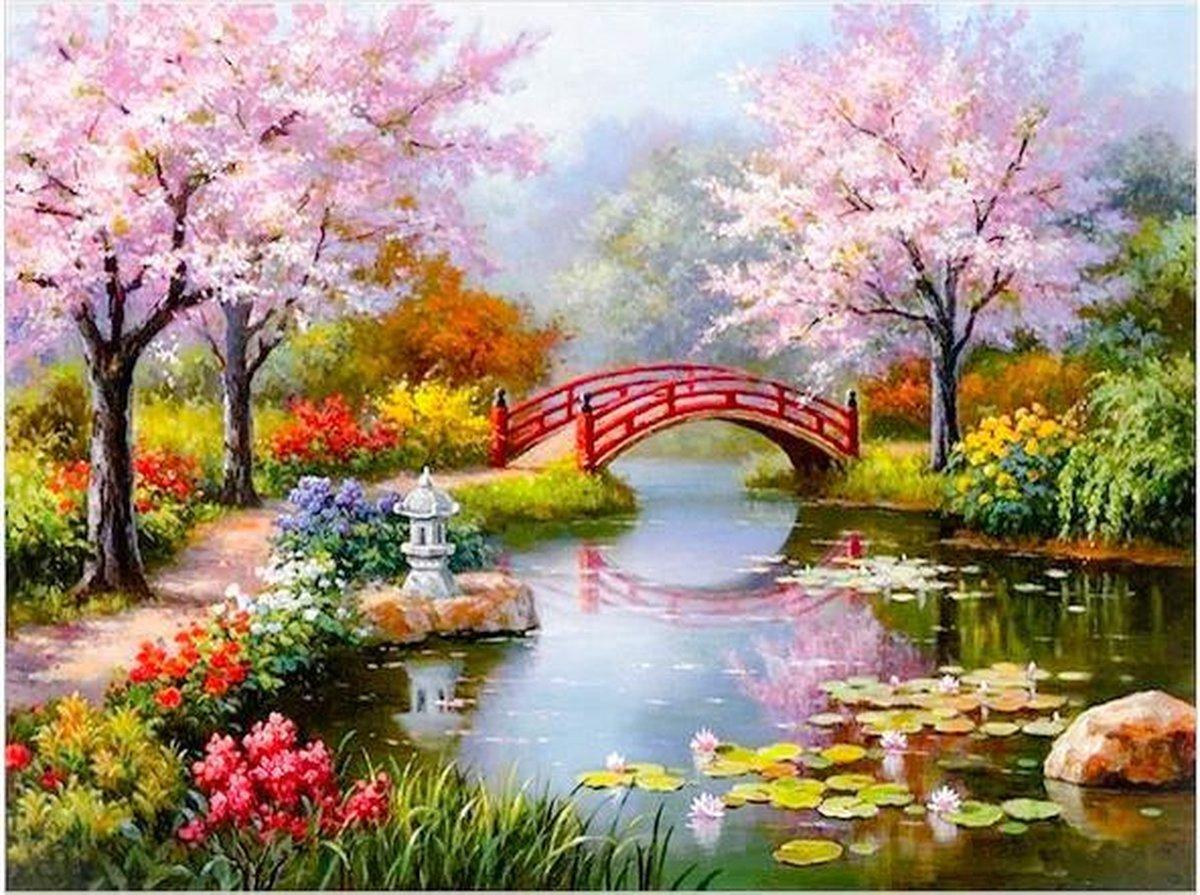 Schilderen op nummer |Inclusief | Frame | 40 x 30 cm | Japanse tuin| Verven op nummer | Canvas | DIY | Cadeau | Familie | Paint by number | Kwasten | Verf | Hobby | Trend| Seizoen