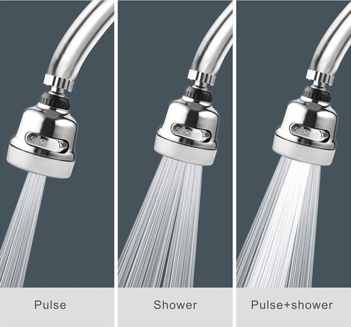 Kraan kop zilver - Waterbesparende kraankop - Krachtige kraankop - Hogedruk kraan - Roterende sproei