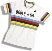 Regenboogtrui casual retro shirt - We ღ de koers! - Casual shirt geïnspireerd op het wielershirt dat werd uitgereikt aan Freddy Maertens nadat hij het WK van 1981 had gewonnen - 100% katoen Heren T-shirt L