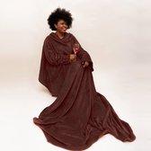 MikaMax Snuggie Deluxe Fleece deken met mouwen 150x215cm - Bruin