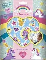 Auto raamstickers eenhoorns / unicorns thema 60 stuks - in de auto op reis voor kinderen autoraam plakstickers