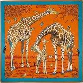 Zijdezachte Sjaal – Giraffes – 130 x 130 cm