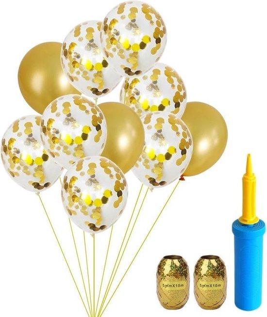 Confetti Ballonnen Set met Ballon en Krullend Lint | 25 Delig | Goud