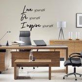 Muursticker Love Be Inspire -  Zwart -  60 x 47 cm  - Muursticker4Sale