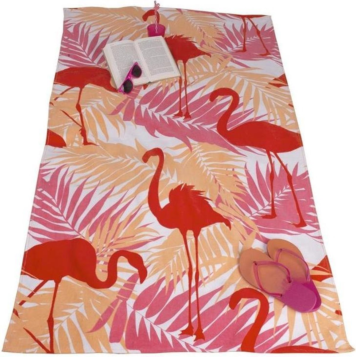 Strandlaken met Flamingo Print 90x170 cm Roze/Oranje