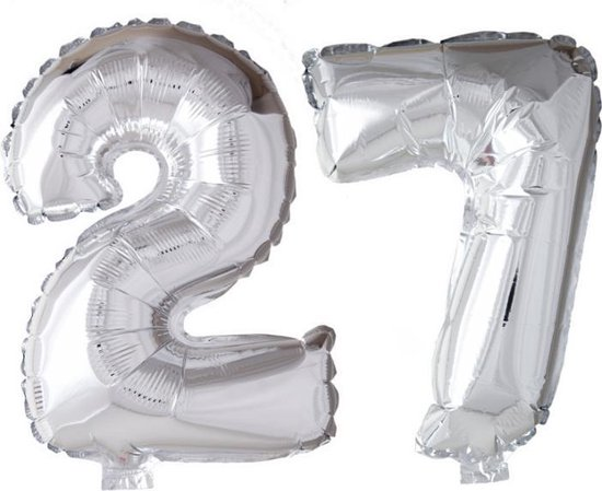 Folieballon 27 jaar zilver 86cm
